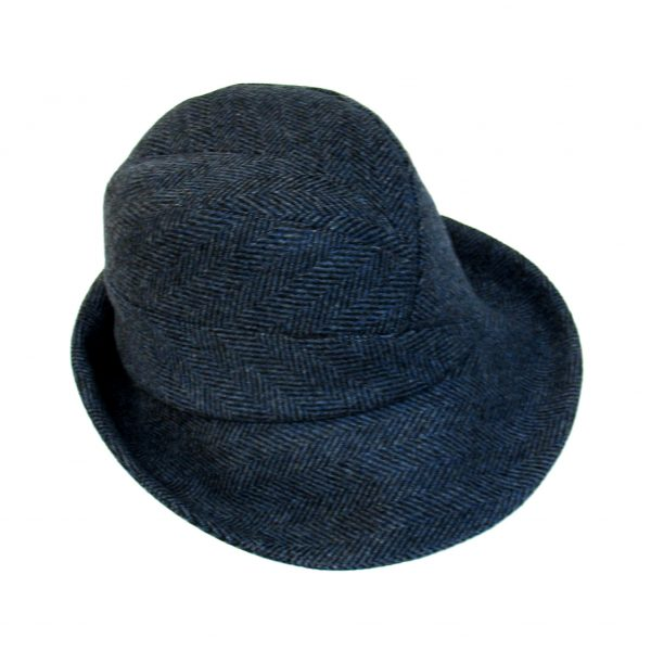 d92b7ac5db6 ... Mens trilby hat in charcoal pure wool twill with brushed cotton brim.